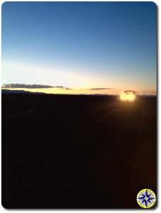 sunset on 4x4 trail