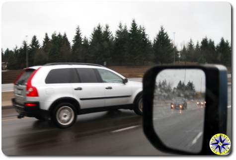 Driving by cars on Intersate 5 to seattle