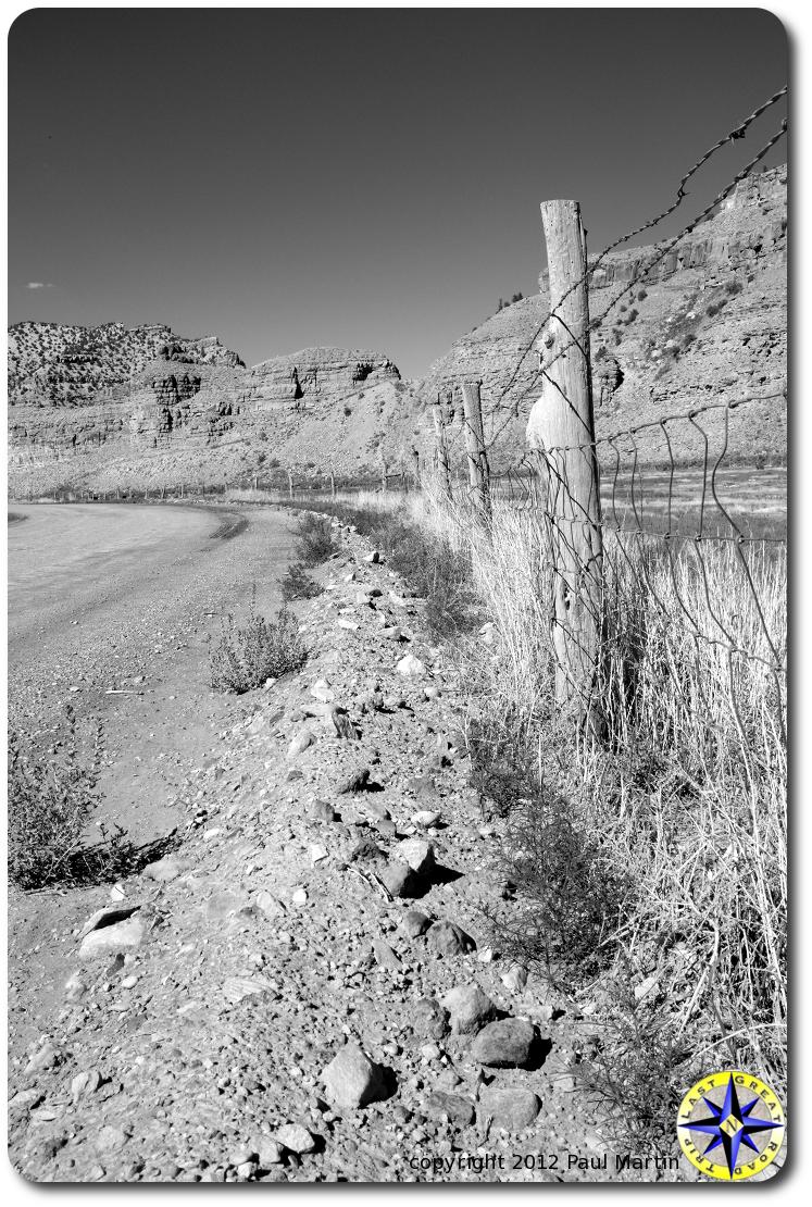 utah back road fence line