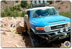 fj cruiser against rock