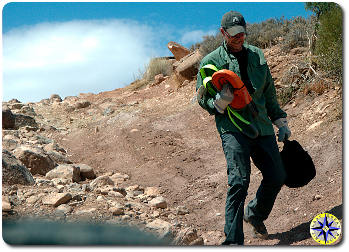man carrying recovery gear