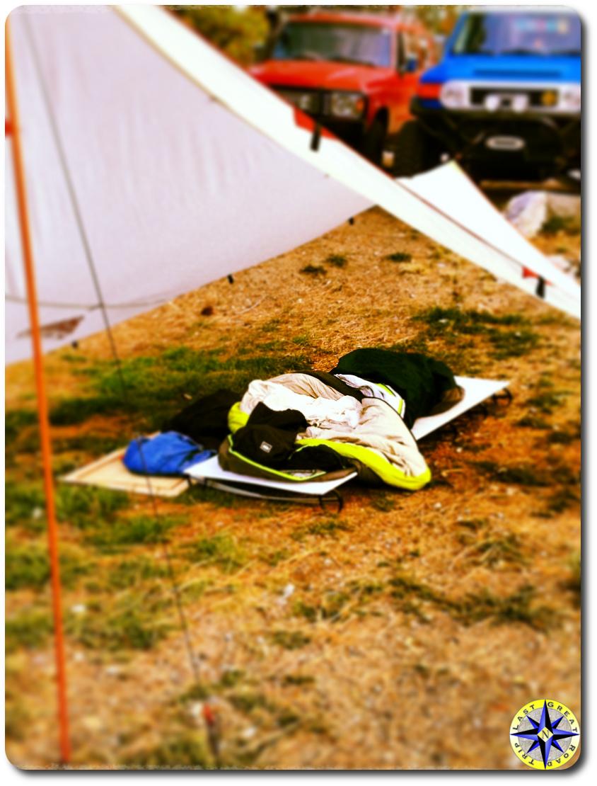 sleeping under a tarp