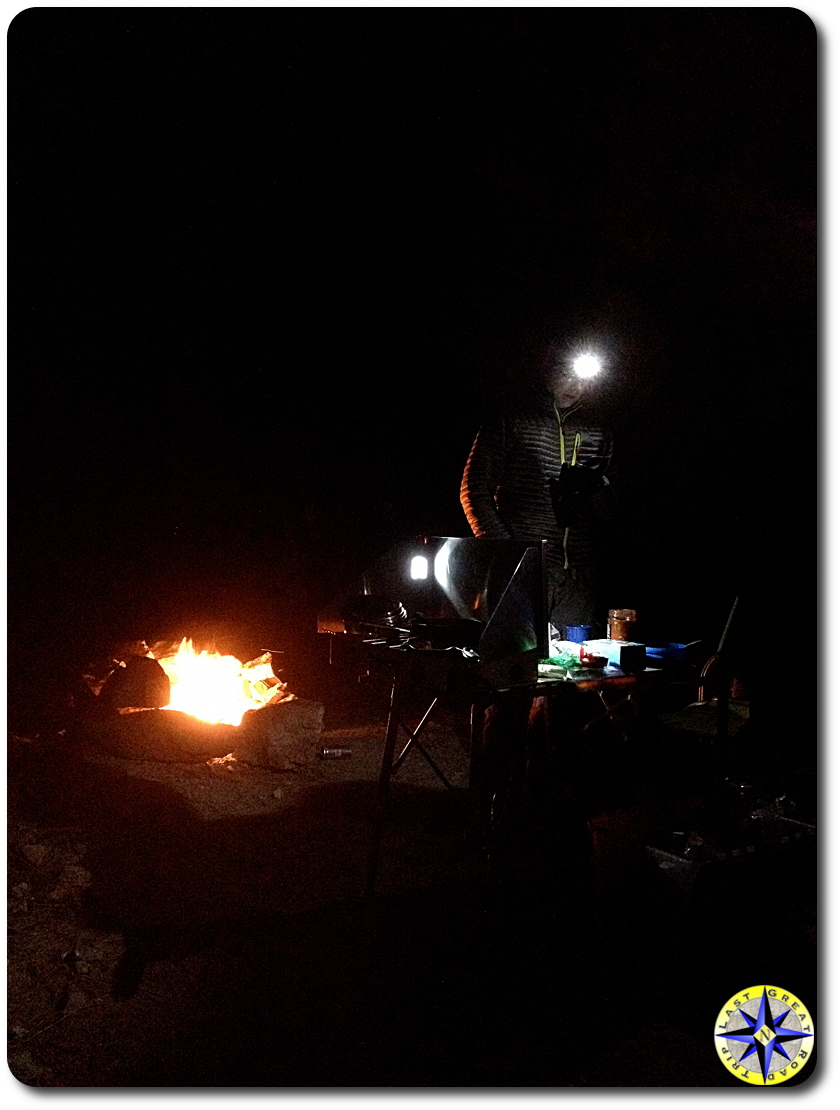 night time camp fire
