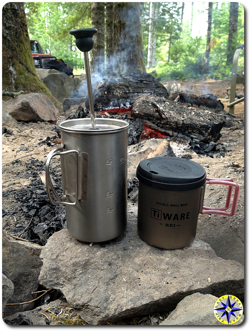 french press camp coffee