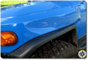 fj cruiser dented fron fender
