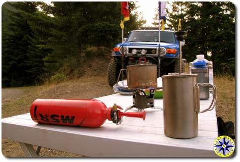 camping stove pot and table minimalist primitive camping