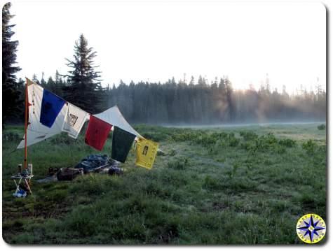 sunrise minimalist primitive camping paryer flags
