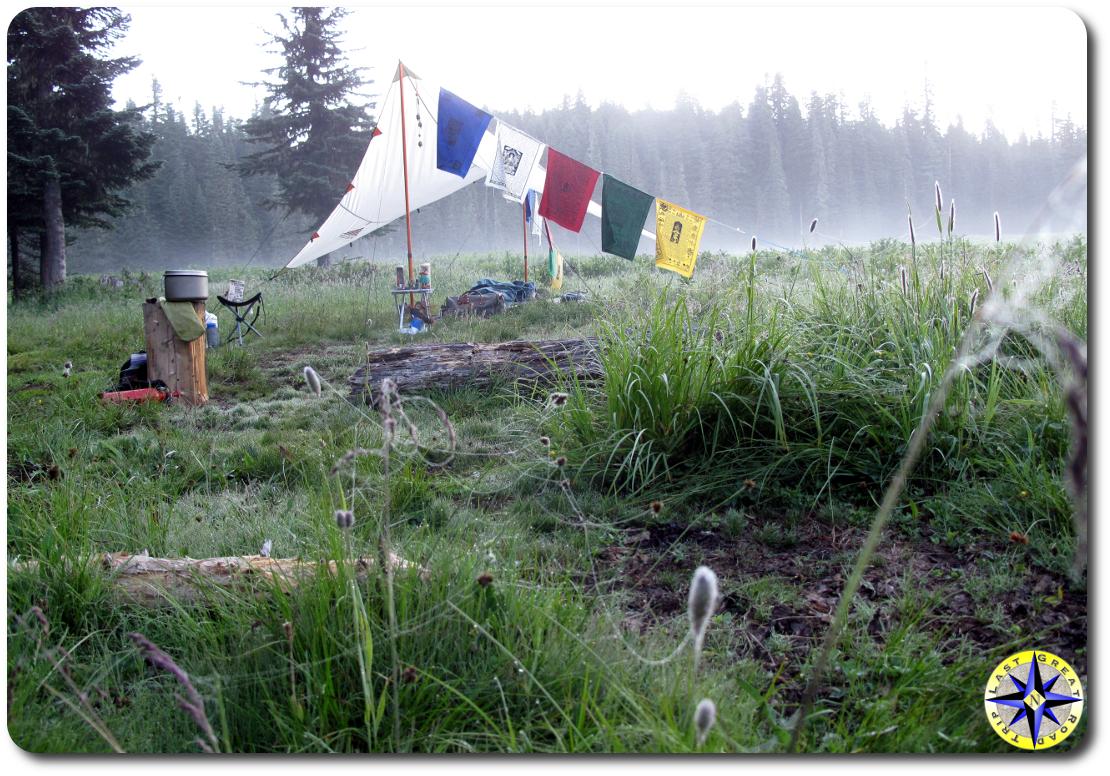 sunrise camp prayer flags