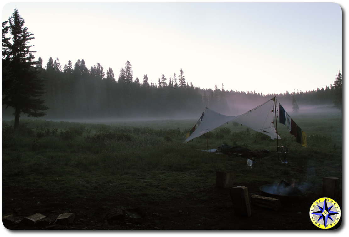 sunrise mist camping meadow