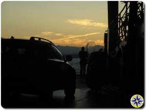 washington state ferry sunset