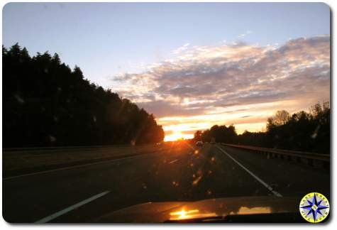 sunset windshield view