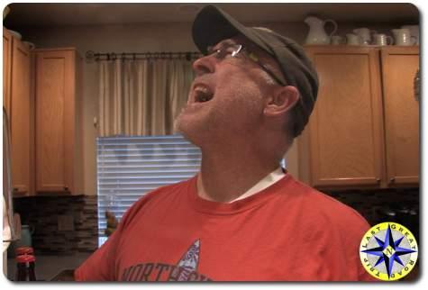 man yelling in kitchen