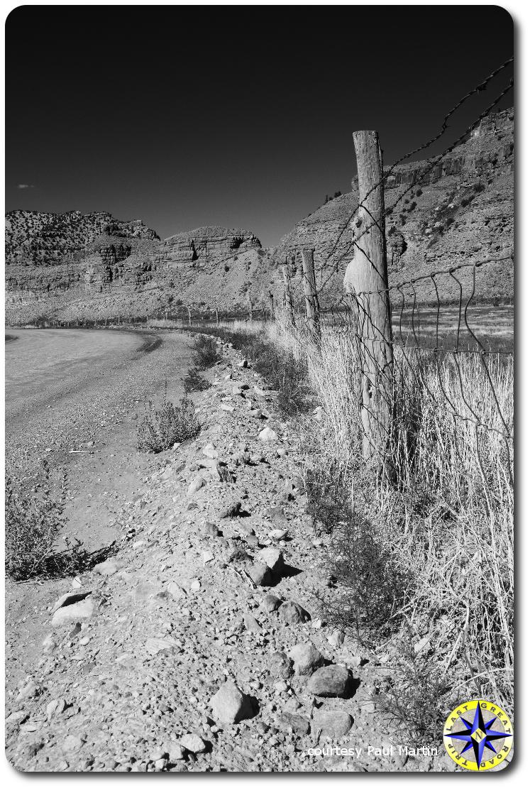 utah gravel road fence line