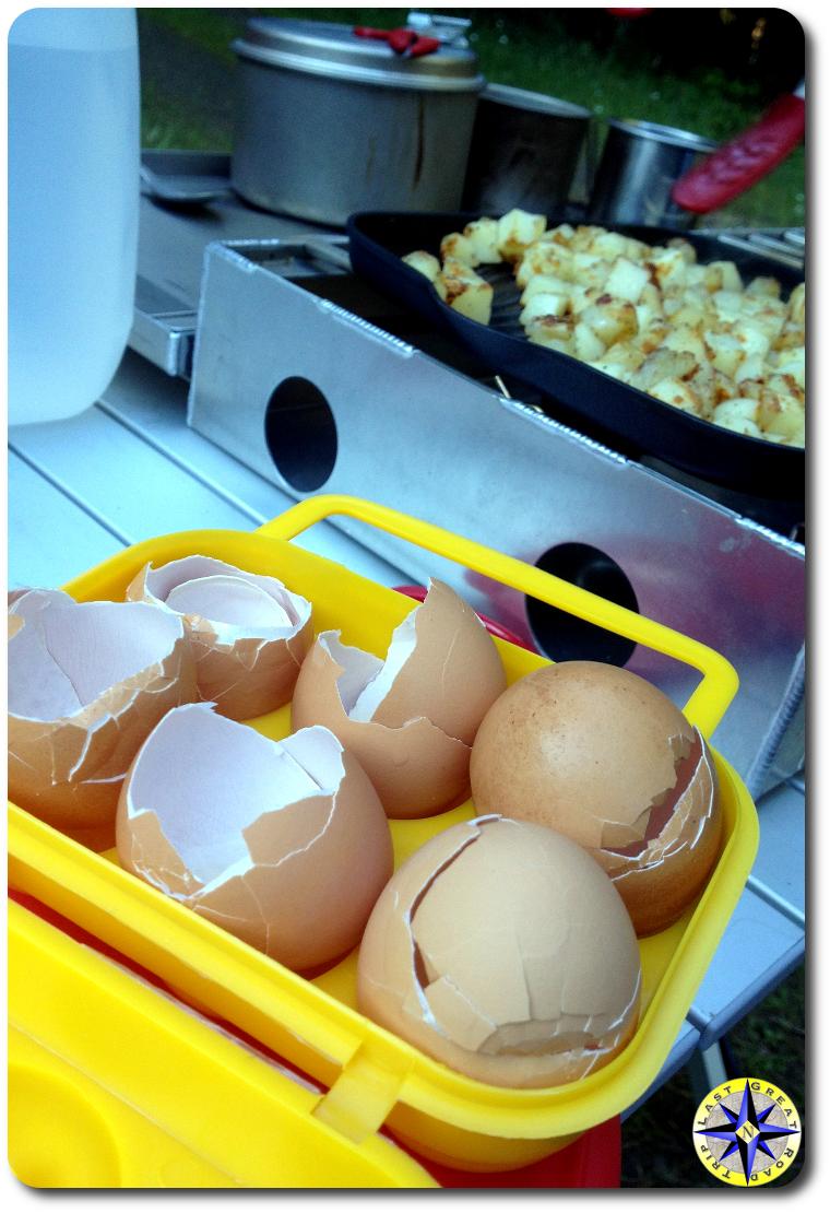 egg shells camp stove
