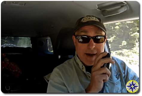 man talking on CB radio