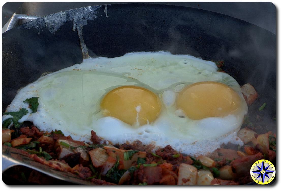 fried eggs in skillet