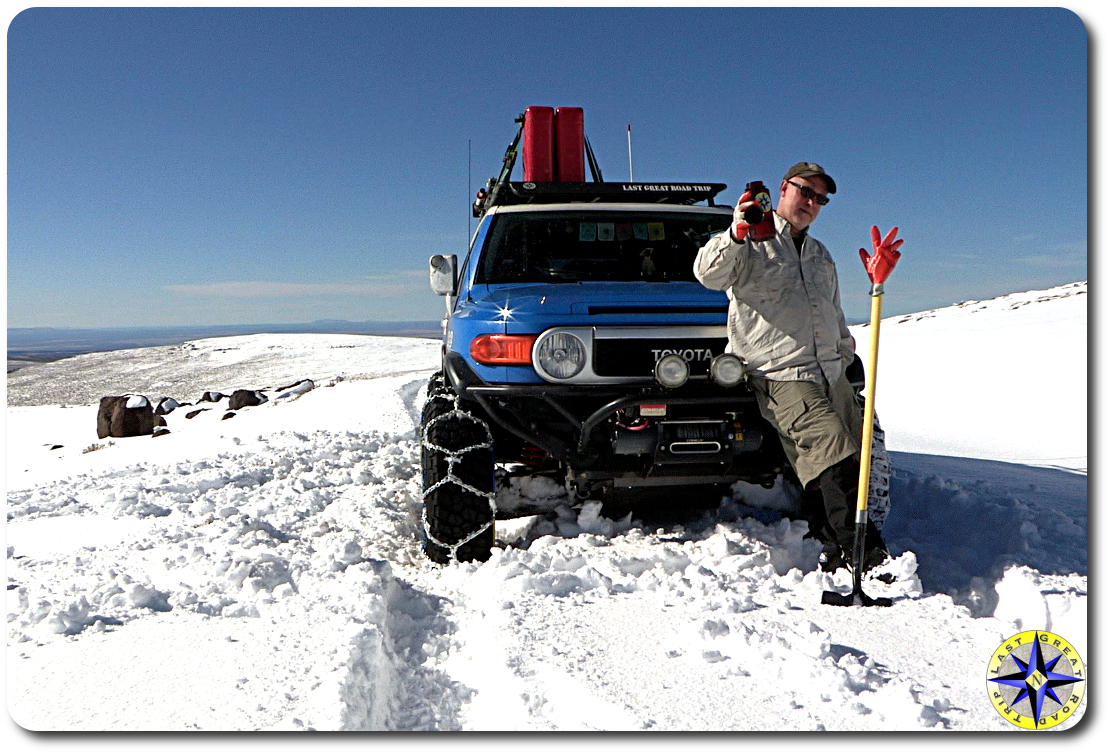 FJ Cruiser chained up for snow