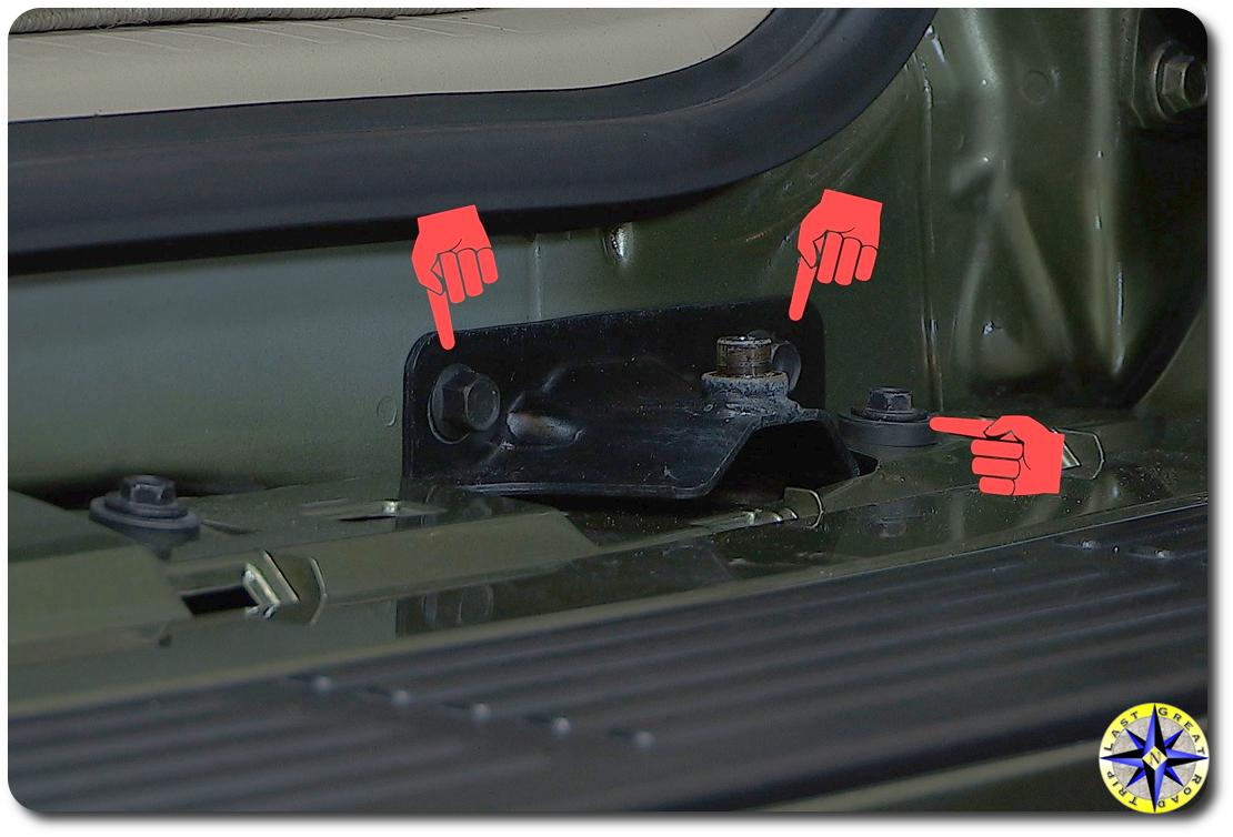 Improved Lexut GX470 rear doot strut bracket bolts