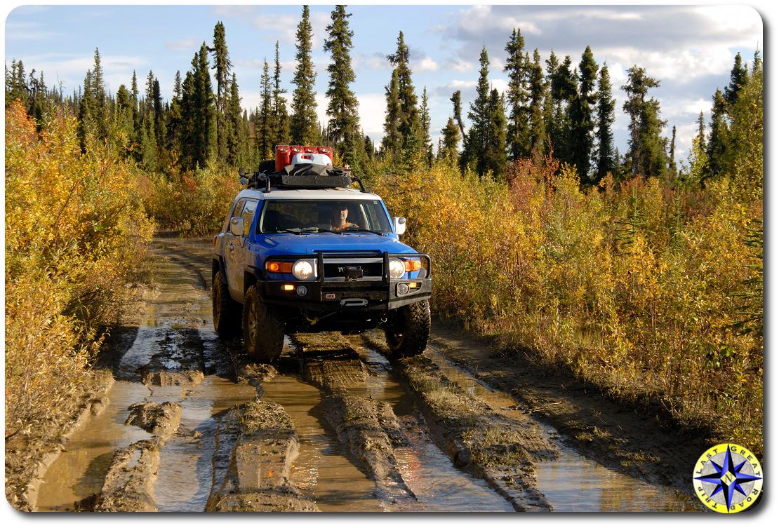 fj cruiser muddy trail fall colors