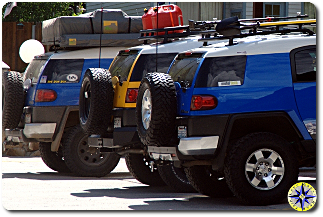 toyota fj cruisers parked