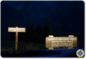 hurricane ridge obstruction point road sign