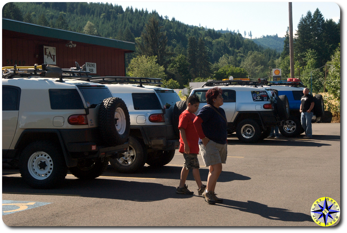 four FJ Cruisers in parking lot