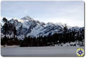 frozen lake snow covered mountain