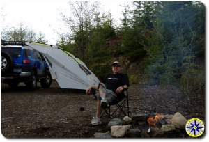 fj cruiser kelty carport camp fire