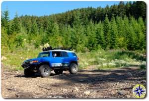 voodoo blue toyota fj cruiser mount hood logging roads