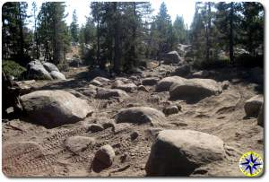boulders rocks and tire marks on Rubicon Trail