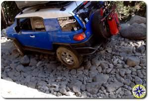 rubicon trail packed rocks toyota fj cruiser