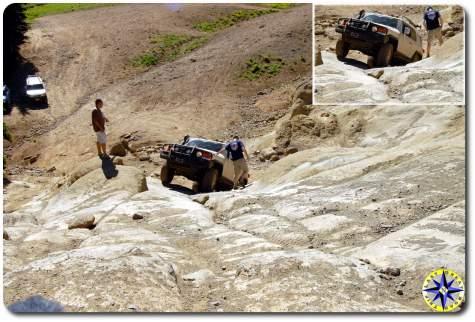 fj cruiser climbing rock face