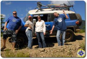 friends and fj cruiser on natches wagon trail