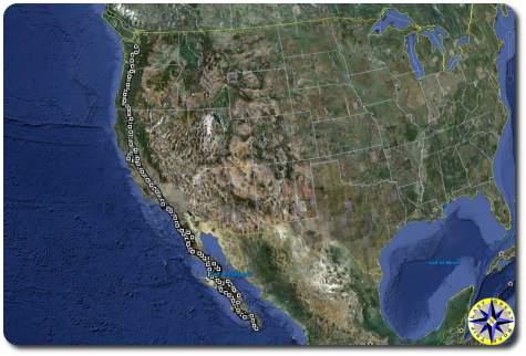 baja off road adventure satellite map route