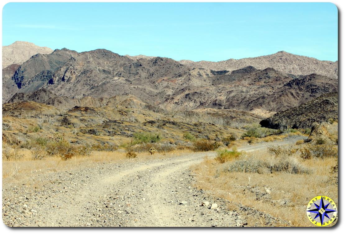dirt road into baja mexico hills