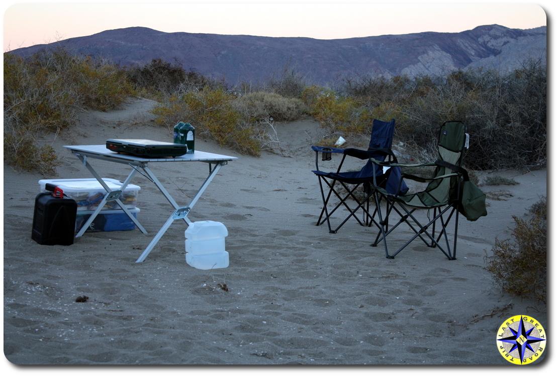Bahía de los Ángeles camping kitchen