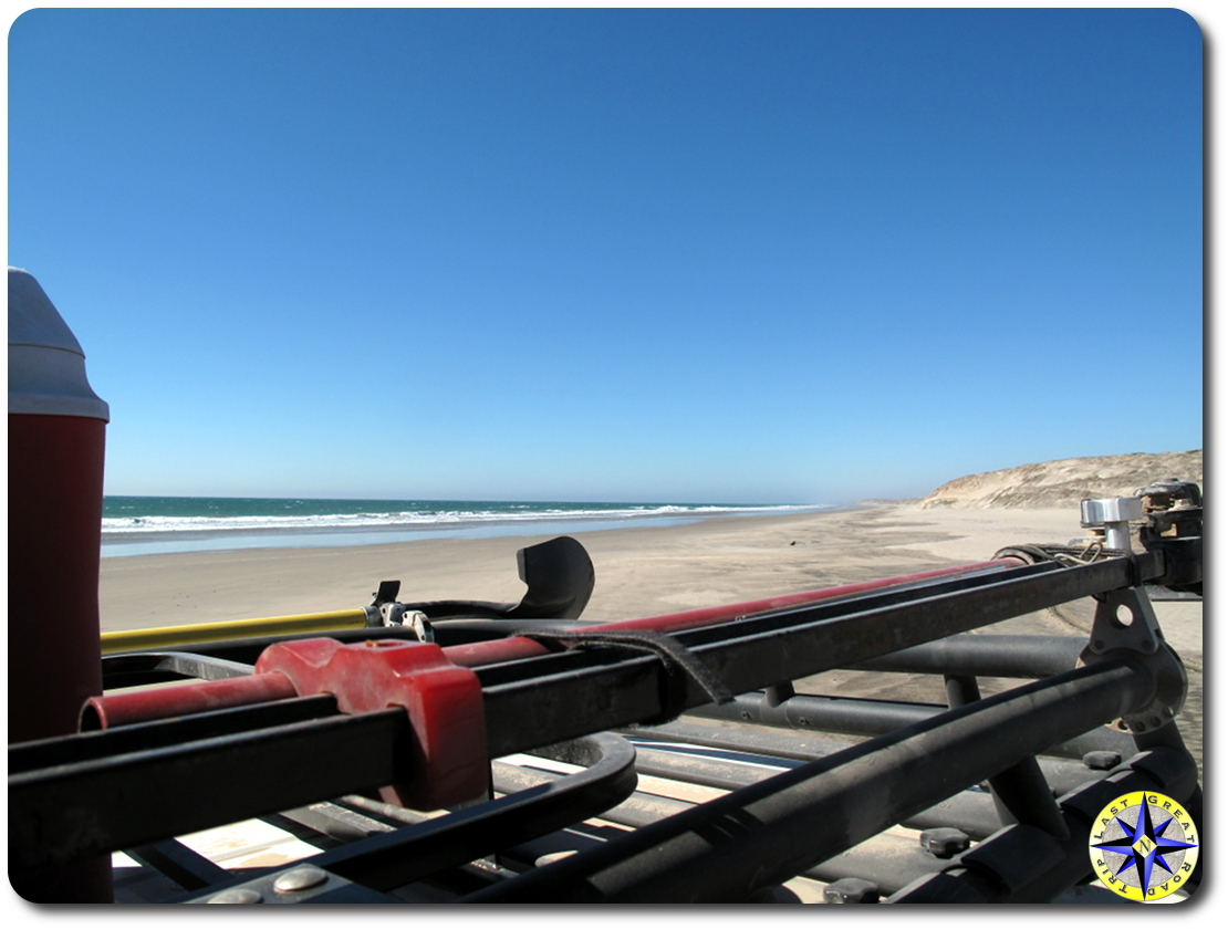 baja mexico beach view from fj cruiser roof