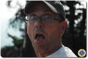 closeup man funny face