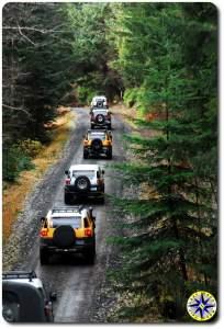 FJ cruisers on dirt road