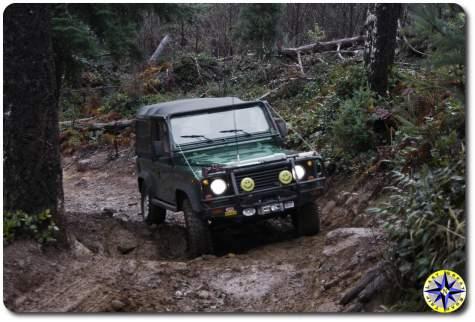 Landrover D90 climbing mudy hill