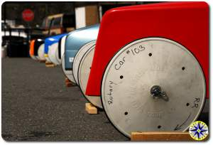 soap box derby cars in a row