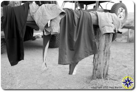 camp laundry drying on posts