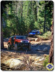 fj cruiser coming up rubicon trail