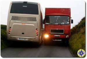 2 trucks passing ireland road