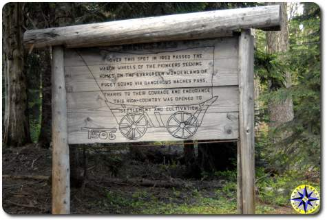 historical naches wagon trail sign