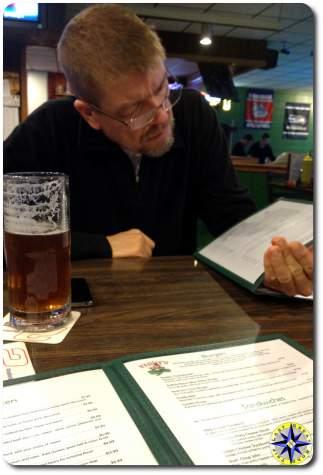 man beer menu sports bar