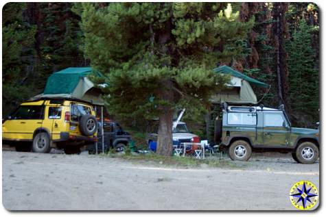 landrover roof top tent overland camp