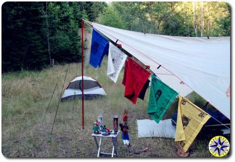 prayer flags tarp tent camping