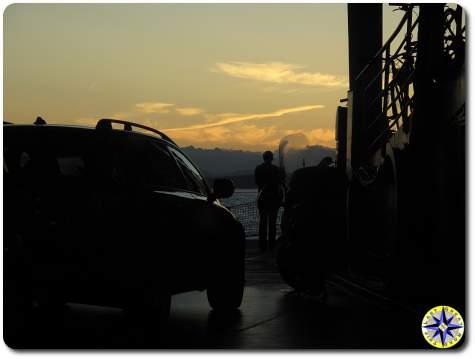 washington state ferry sunset