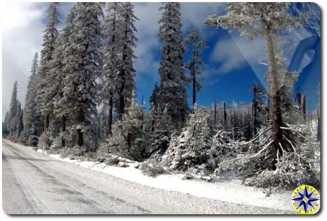 snowy mountain pass road